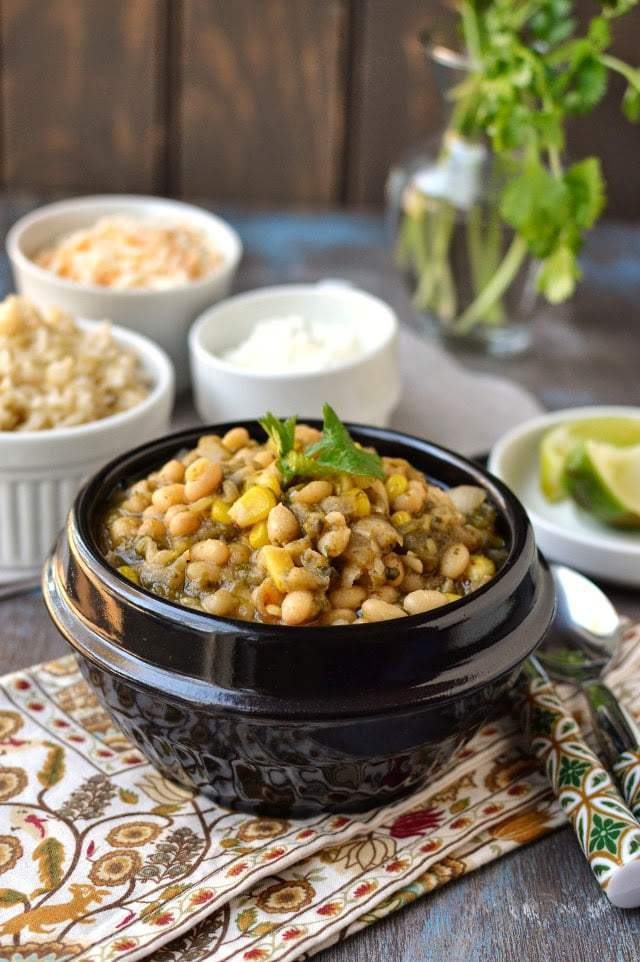 Vegetarian White Chili with Roasted Poblano Peppers Recipe | HeyFood — heyfoodapp.com