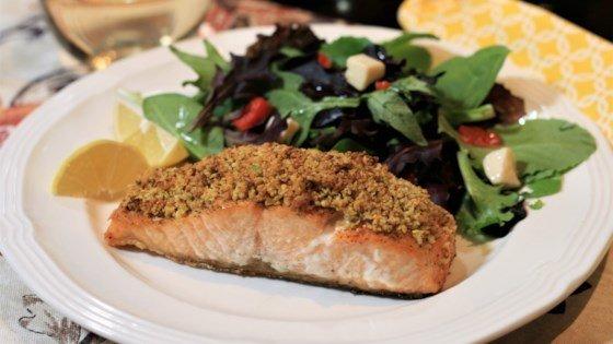 Pistachio-Crusted Salmon Recipe | HeyFood — heyfoodapp.com
