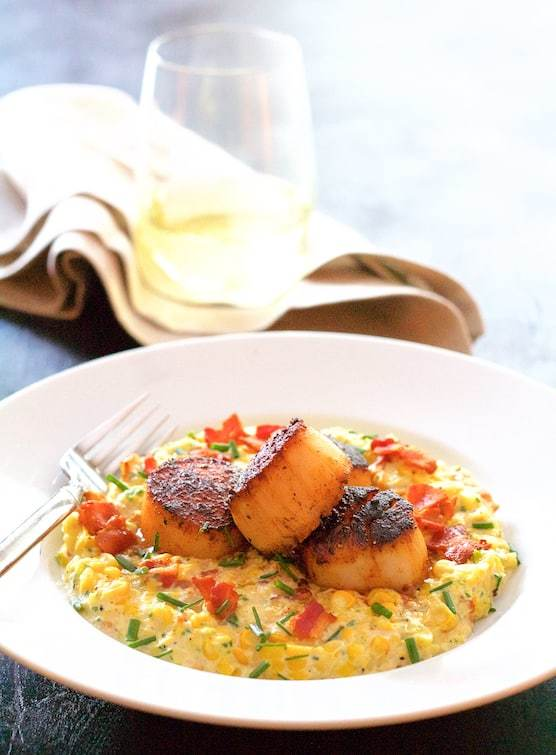 Seared Scallops with Smoky Sweet Corn Puree Recipe | HeyFood — heyfoodapp.com