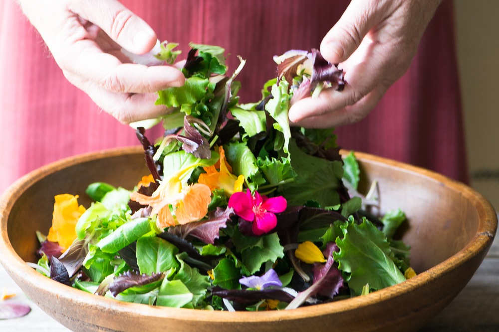 Spring Salad with Edible Flowers Recipe | HeyFood — heyfoodapp.com