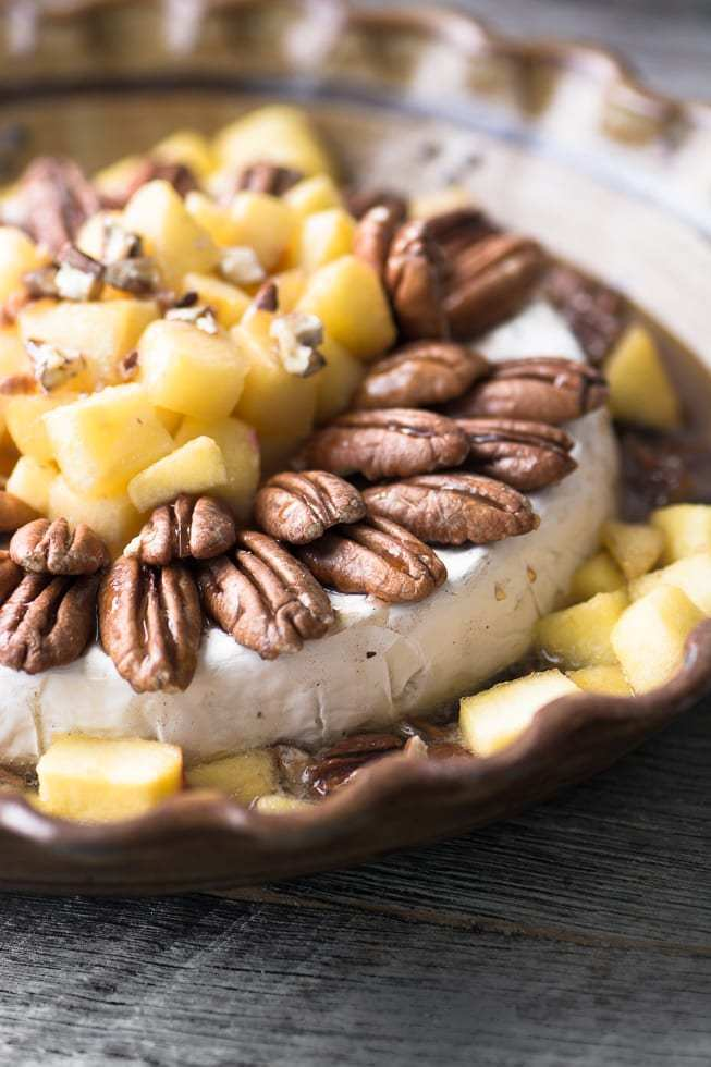 Baked Brie with Maple Apples and Pecans Recipe | HeyFood — heyfoodapp.com