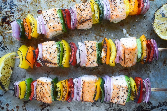 Rainbow Salmon Skewers Recipe | HeyFood — heyfoodapp.com