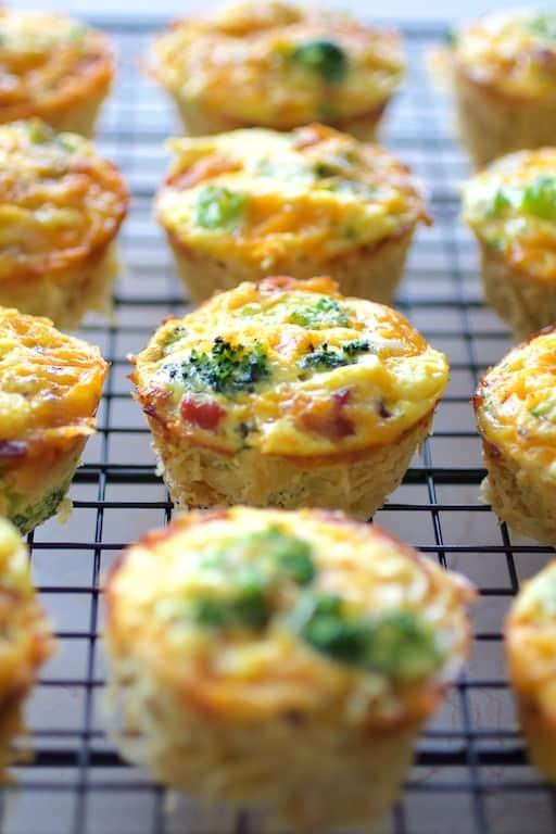 Spaghetti Squash Broccoli Bacon and Cheddar Mini Quiches Recipe | HeyFood — heyfoodapp.com