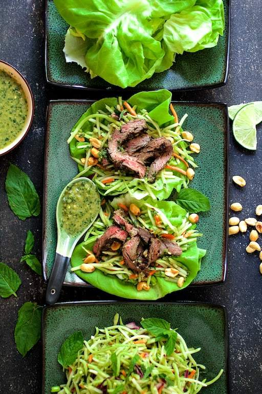 Thai Beef Lettuce Wraps with Mint Dressing and Vegetable Slaw Recipe | HeyFood — heyfoodapp.com