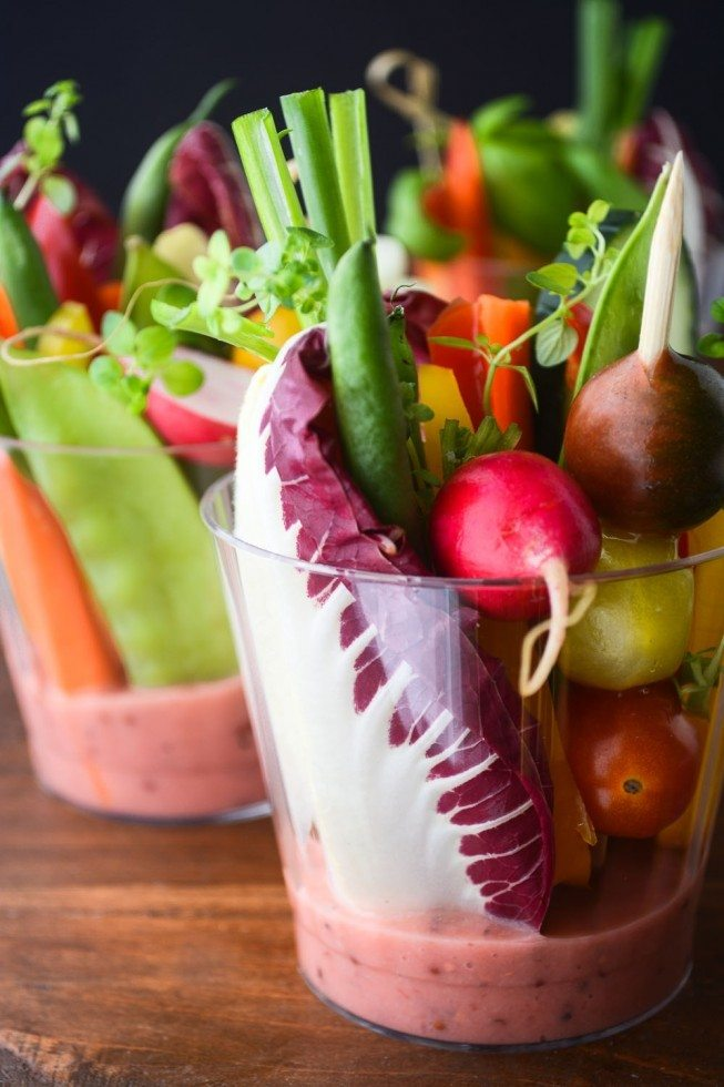 Individual Salad Cups with Rhubarb Vinaigrette Recipe | HeyFood — heyfoodapp.com