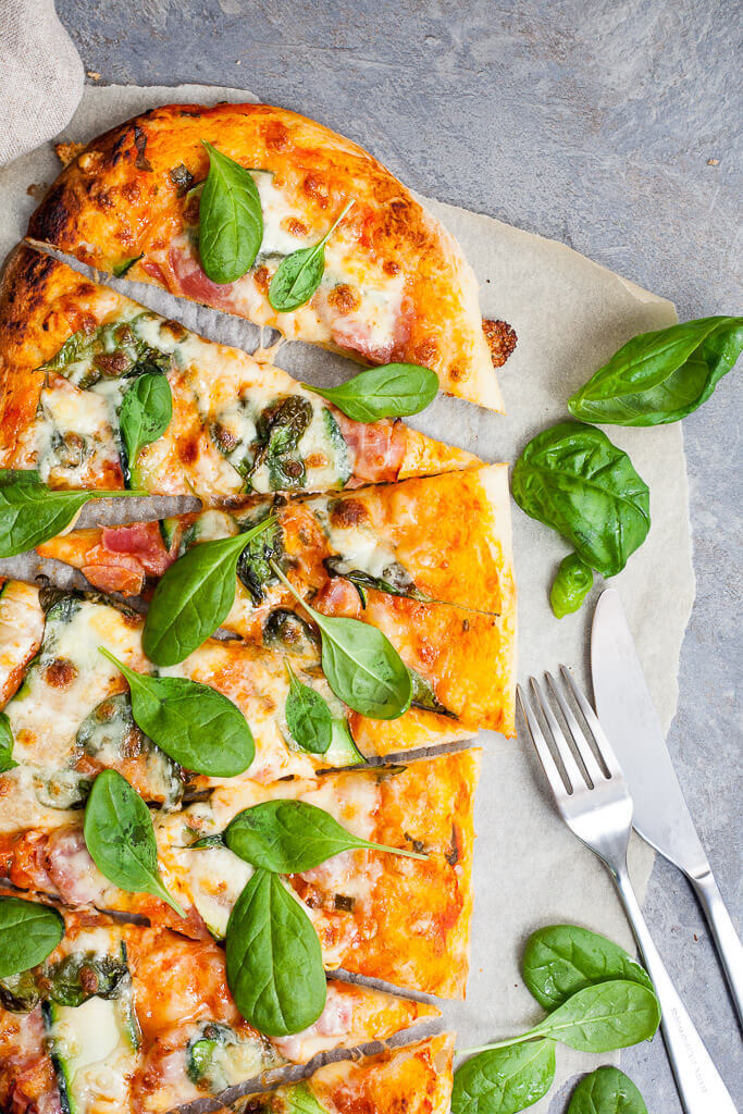 Spinach & Zucchini Pizza Recipe | HeyFood — heyfoodapp.com