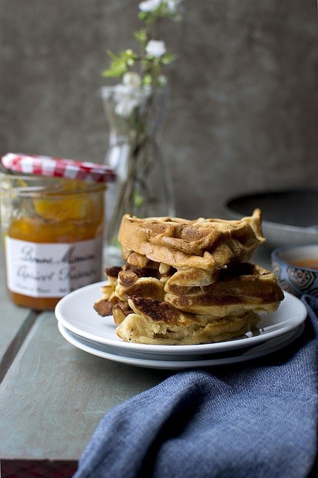 Apricot Preserves & Almond Waffles Recipe | HeyFood — heyfoodapp.com