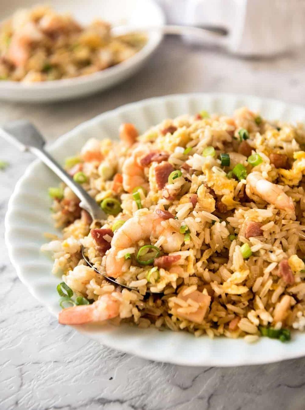 Chinese Fried Rice With Shrimp / Prawns Recipe | HeyFood — heyfoodapp.com