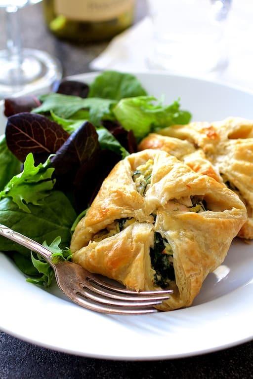 Chicken Spinach and Artichoke Puff Pastry Parcels Recipe | HeyFood — heyfoodapp.com