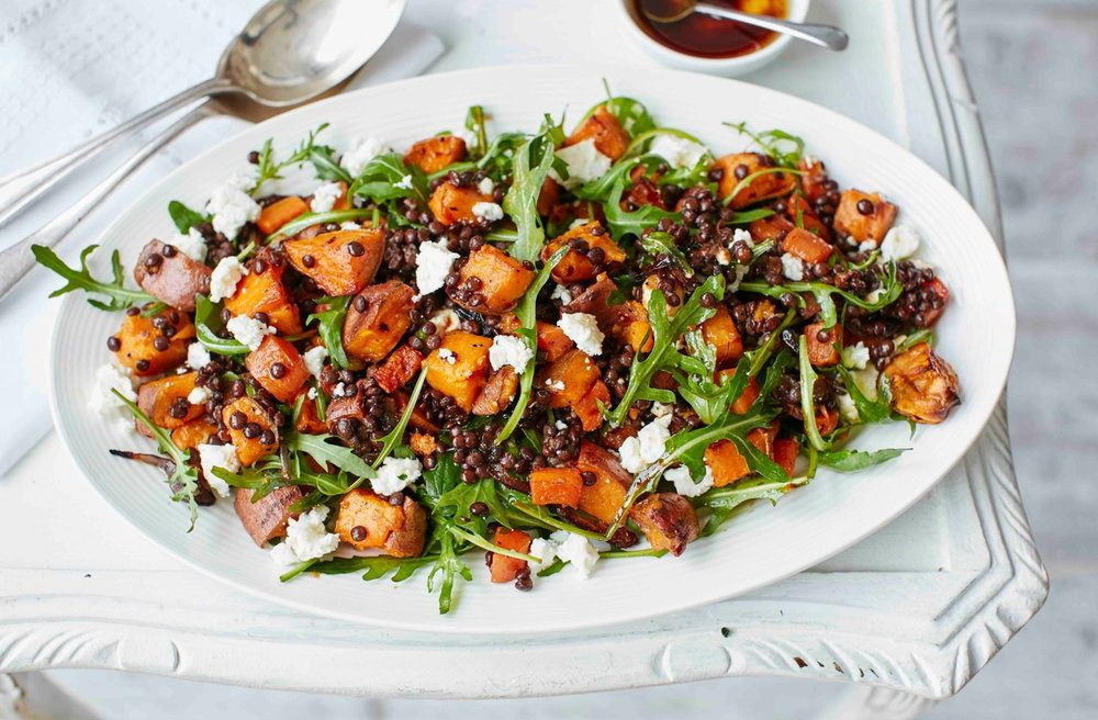 Sweet Potato, Lentil And Feta Salad Recipe | HeyFood — heyfoodapp.com