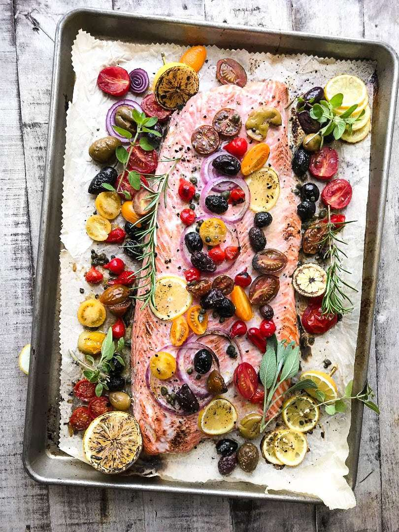 Mediterranean Sheet Pan Salmon Recipe | HeyFood — heyfoodapp.com