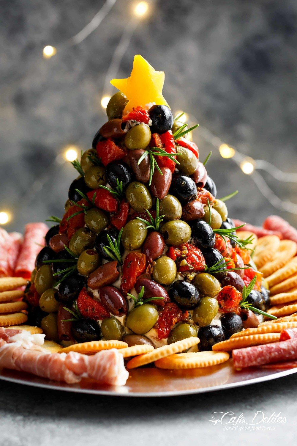 Antipasto Cheese Ball Christmas Tree Recipe | HeyFood — heyfoodapp.com