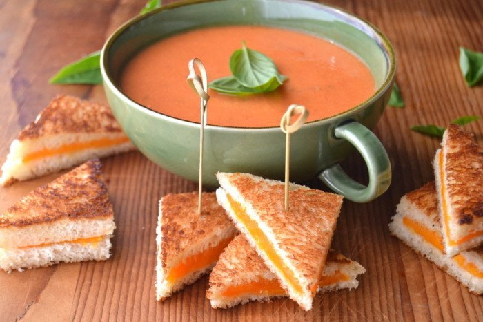 Mini Grilled Cheese with Tomato Soup Dip Recipe | HeyFood — heyfoodapp.com