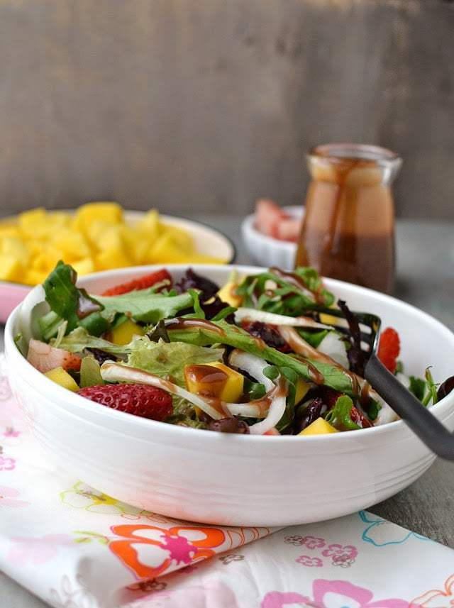 Strawberry Mango Salad with Balsamic Dressing Recipe | HeyFood — heyfoodapp.com