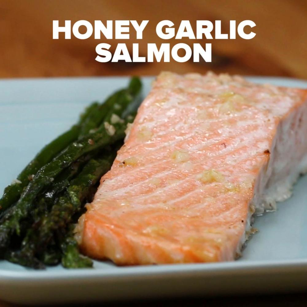 One-Pan Honey Garlic Salmon & Asparagus Recipe By Tasty Recipe | HeyFood — heyfoodapp.com