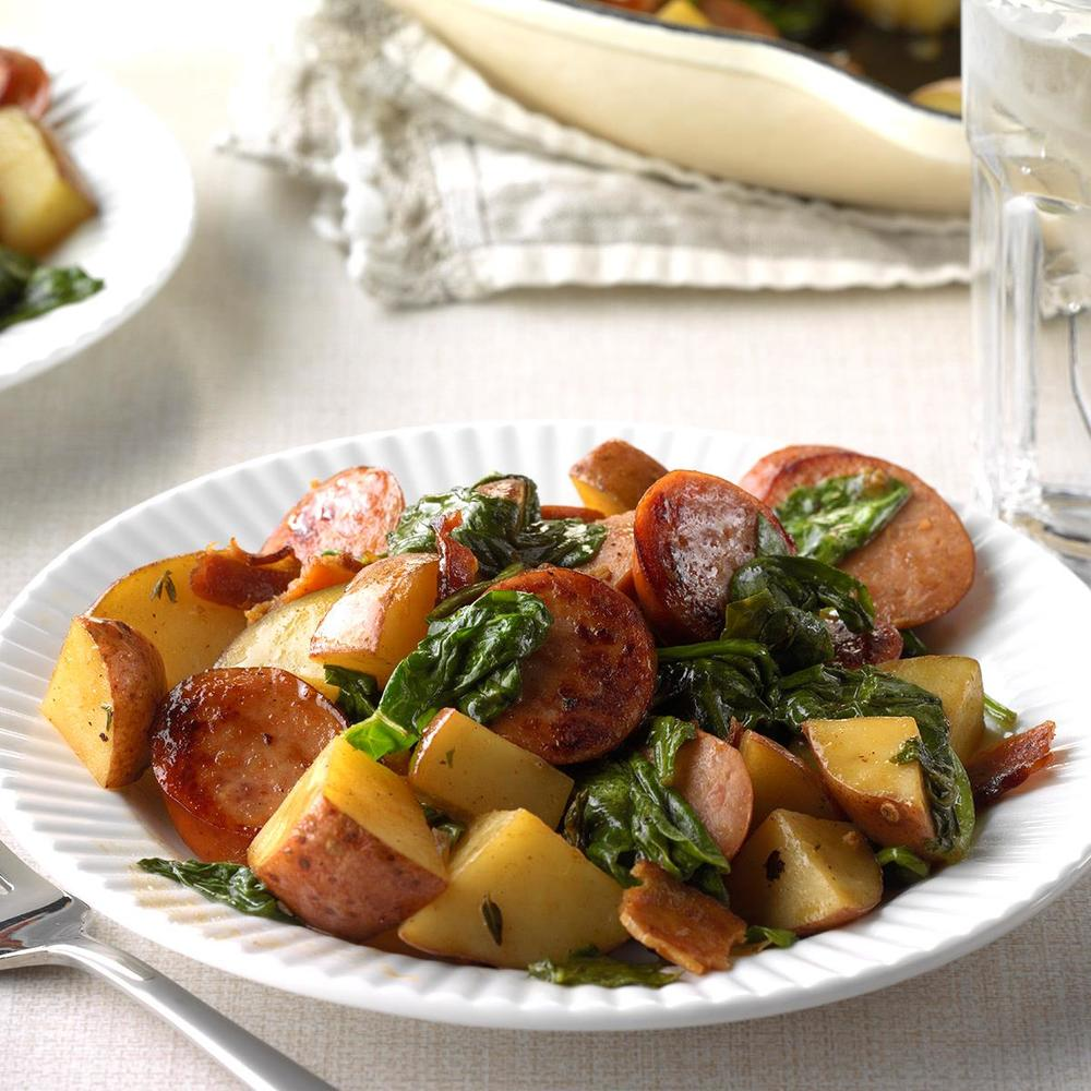 Potato Kielbasa Skillet Recipe | HeyFood — heyfoodapp.com