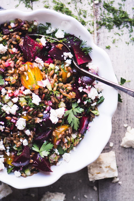 Wheat Berry Salad with Beets and Feta Recipe | HeyFood — heyfoodapp.com