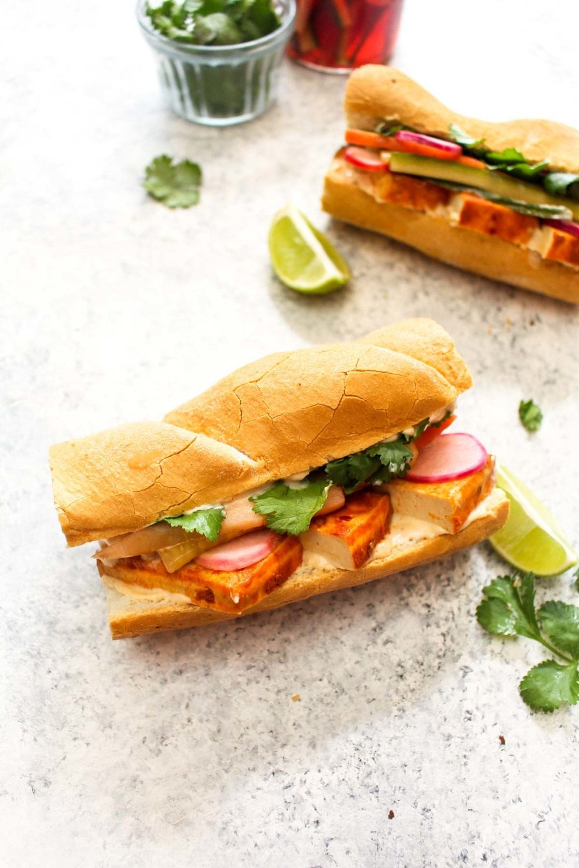Spicy Sriracha Tofu Banh Mi Recipe | HeyFood — heyfoodapp.com