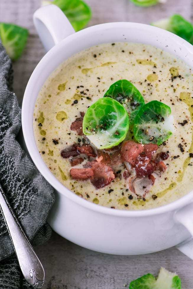 Creamy Brussels Sprout and Bacon Soup Recipe | HeyFood — heyfoodapp.com
