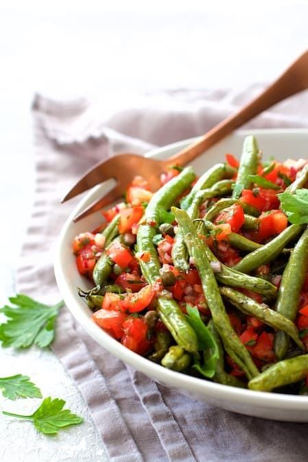 Roasted Green Beans with Tomato Caper Relish Recipe | HeyFood — heyfoodapp.com