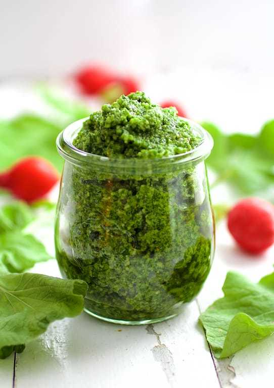 Radish Greens Pesto Recipe | HeyFood — heyfoodapp.com