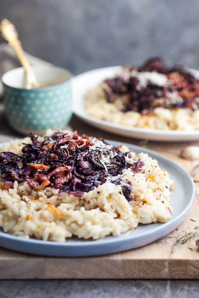 Grilled Radicchio Risotto with Bacon Recipe | HeyFood — heyfoodapp.com