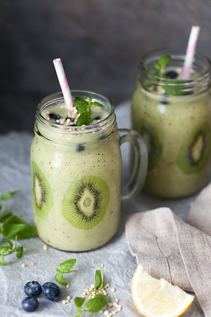 Kiwi Banana Smoothie with Blueberries Recipe | HeyFood — heyfoodapp.com