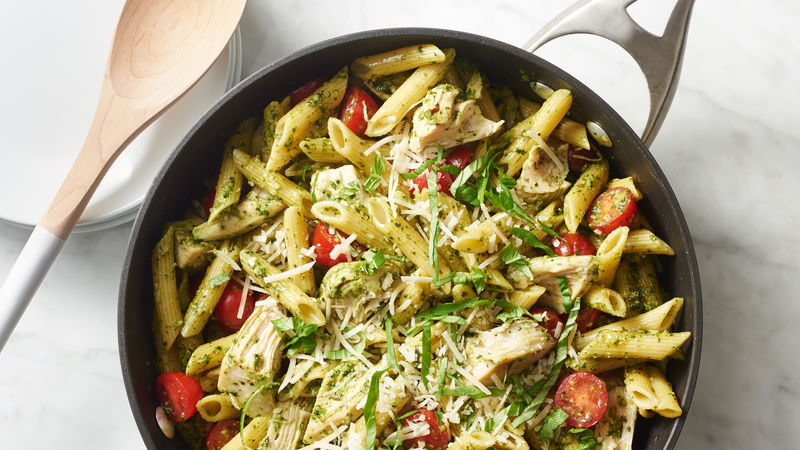 Pesto Pasta with Chicken and Tomatoes Recipe | HeyFood — heyfoodapp.com