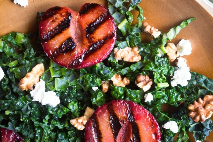 Grilled Plumcot Salad with Toasted Walnut Vinaigrette Recipe | HeyFood — heyfoodapp.com