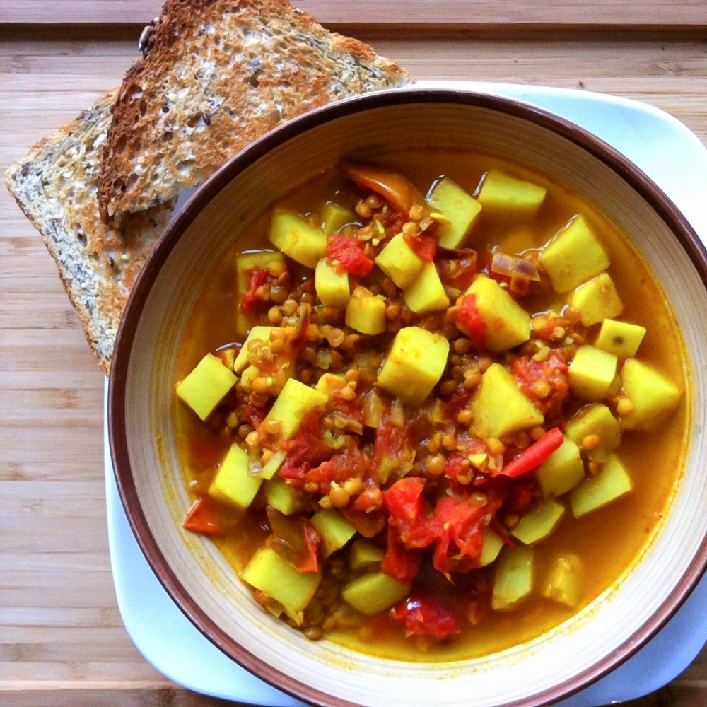 Sweet Potato & Lentil Stew With Crusty Bread Recipe | HeyFood — heyfoodapp.com