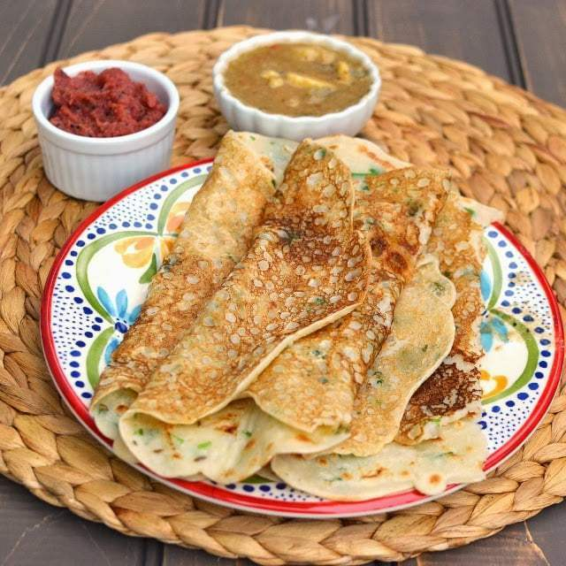 Rava Dosa with Onion Chutney Recipe   HeyFood — heyfoodapp.com