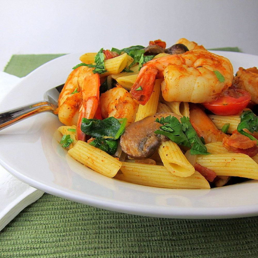 Cajun Shrimp and Vegetable Pasta Recipe | HeyFood — heyfoodapp.com