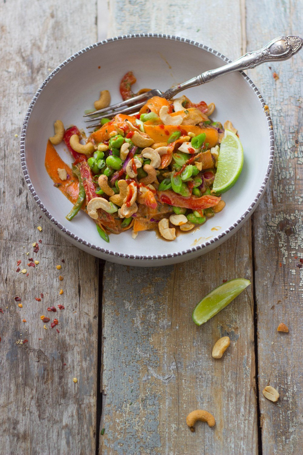 Thai Veggie Salad + Peanut Dressing Recipe | HeyFood — heyfoodapp.com