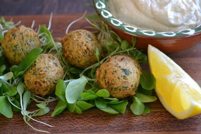 Mini Green Falafel with Yogurt Tahini Sauce Recipe | HeyFood — heyfoodapp.com