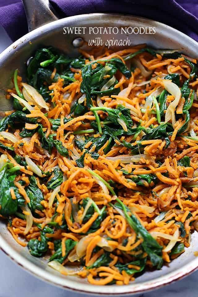 Sweet Potato Noodles With Spinach Recipe | HeyFood — heyfoodapp.com
