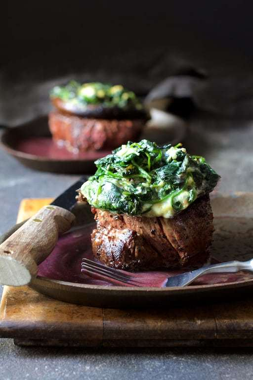 Beef Tenderloin Fillets with Spinach Cambozola Stuffed Portobello Mushrooms and Red Wine Sauce Recipe | HeyFood — heyfoodapp.com