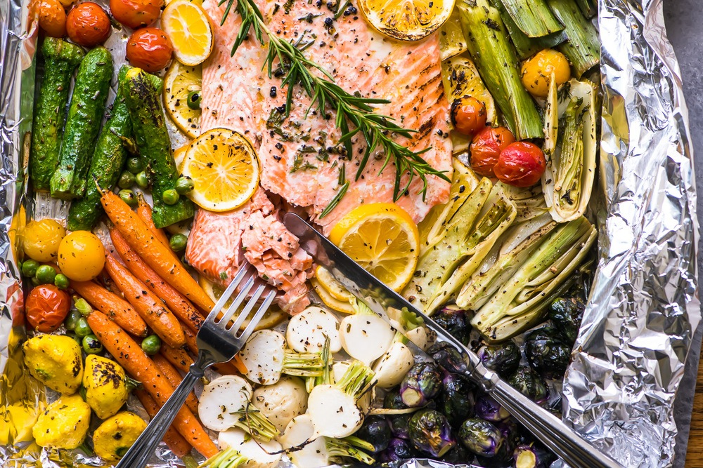 Sheet Pan Salmon Primavera Recipe | HeyFood — heyfoodapp.com