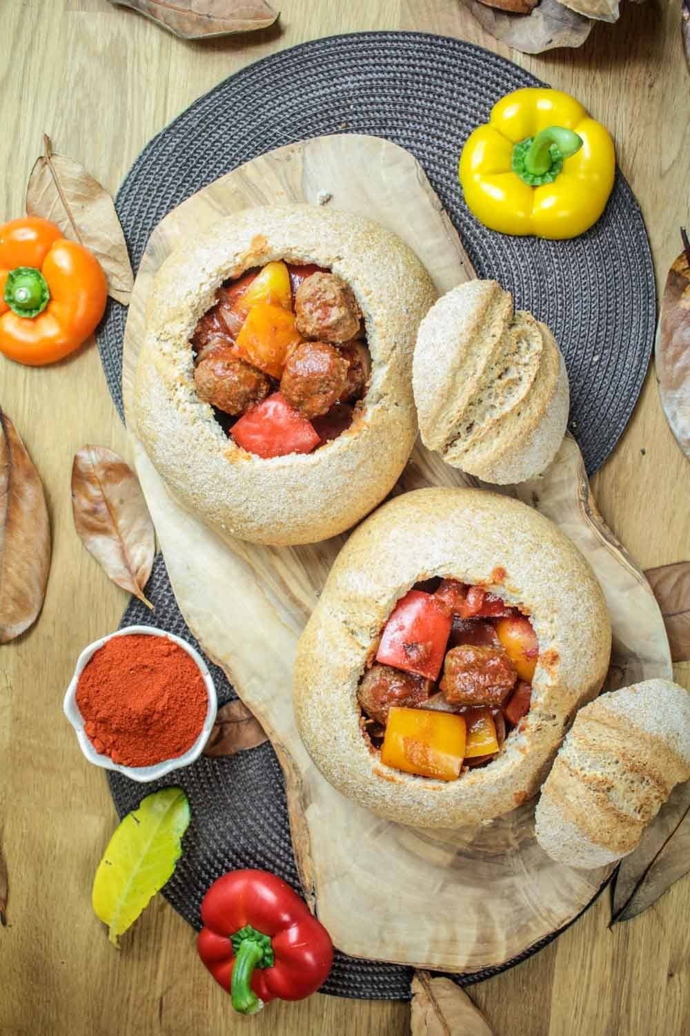 Meatball Goulash Bread Bowls Recipe | HeyFood — heyfoodapp.com