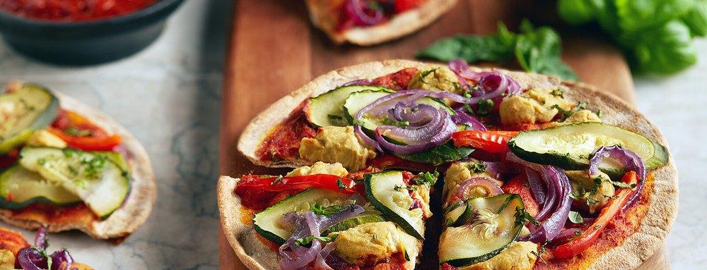 """""""Cheesy"""" Veggie Pizzettes Recipe   HeyFood — heyfoodapp.com"""