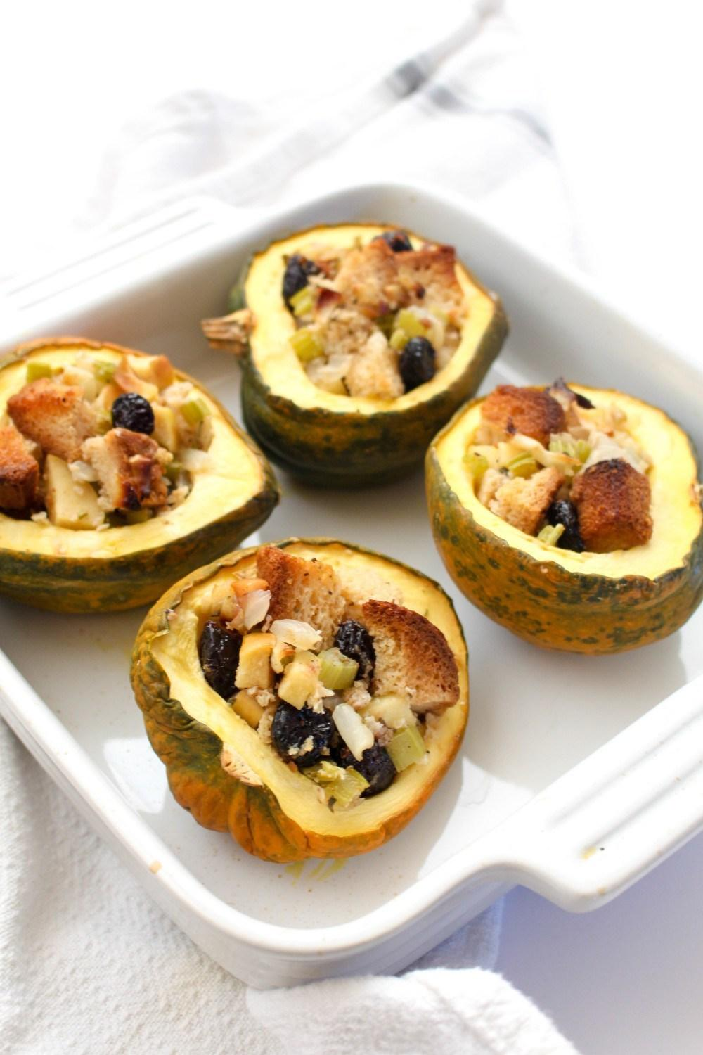 Acorn Squash with Sage Apple Stuffing Recipe | HeyFood — heyfoodapp.com