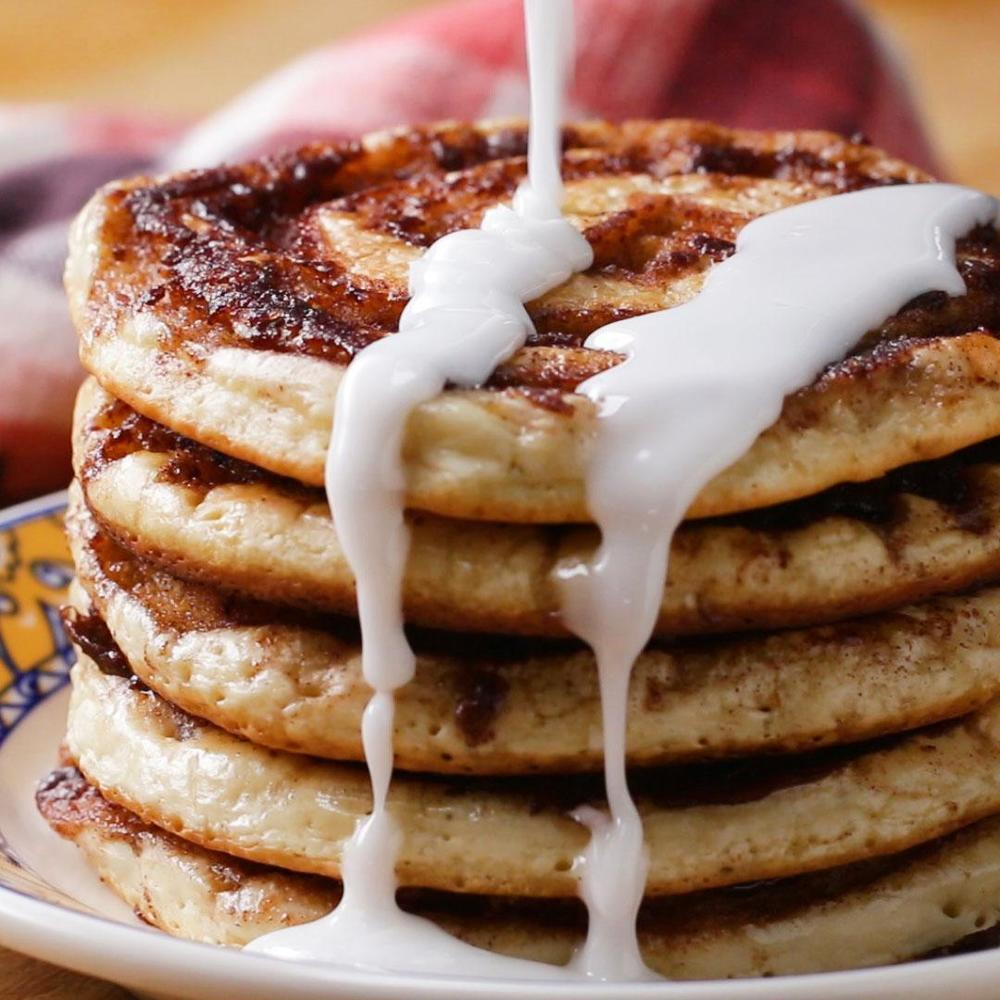 Cinnamon Roll Pancakes With Chloe Coscarelli Recipe By Tasty Recipe | HeyFood — heyfoodapp.com