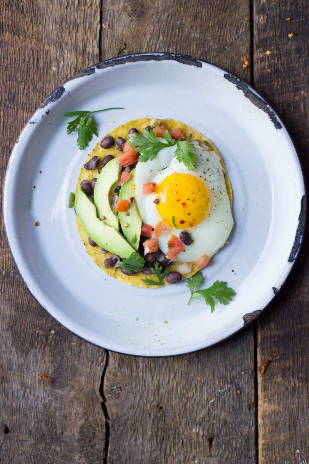 Loaded Breakfast Tostadas Recipe | HeyFood — heyfoodapp.com