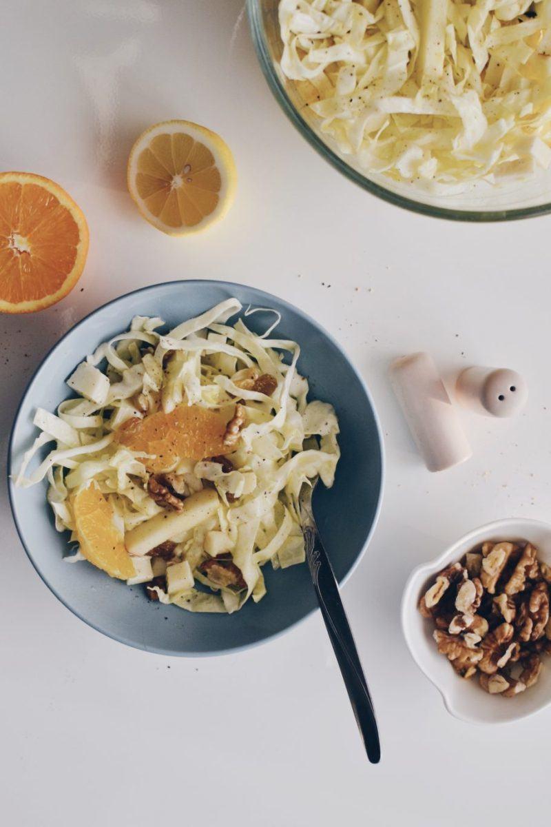 White cabbage and fruits salad Recipe   HeyFood — heyfoodapp.com