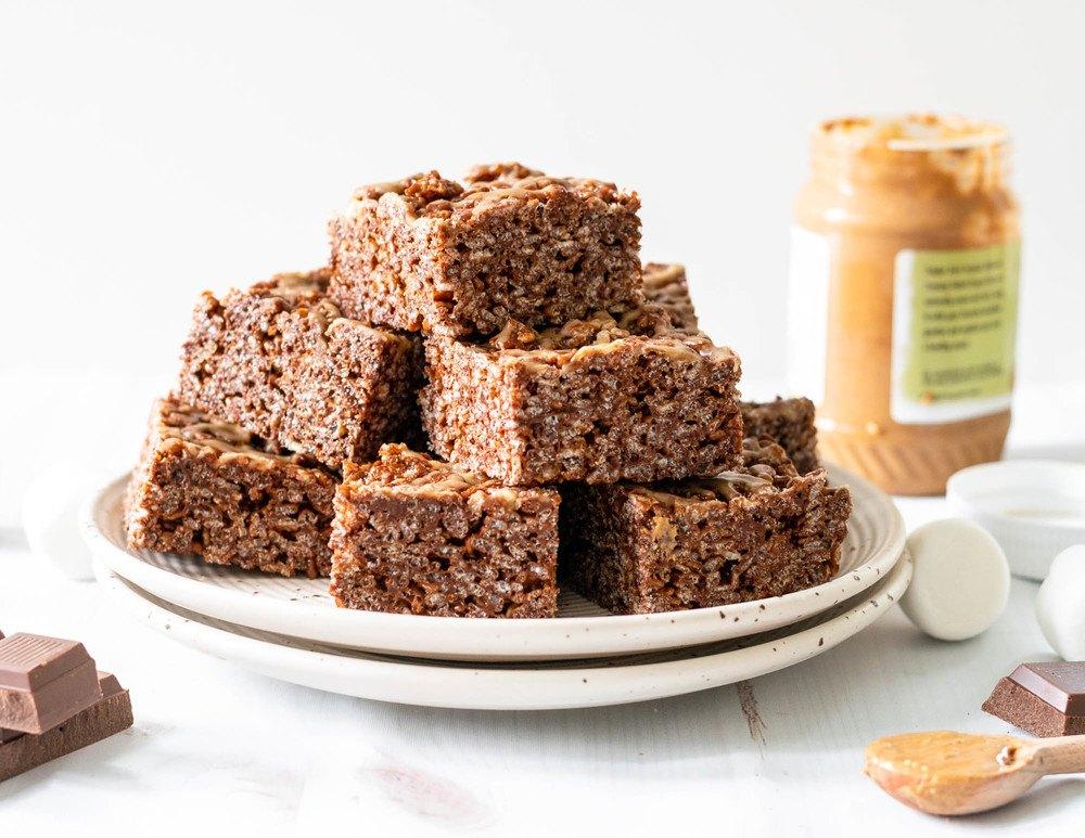 Peanut Butter Chocolate Rice Krispie Treats Recipe | HeyFood — heyfoodapp.com
