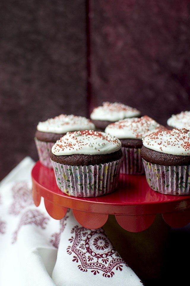 Red Velvet Cupcakes with Marshmallow fluff Frosting Recipe | HeyFood — heyfoodapp.com
