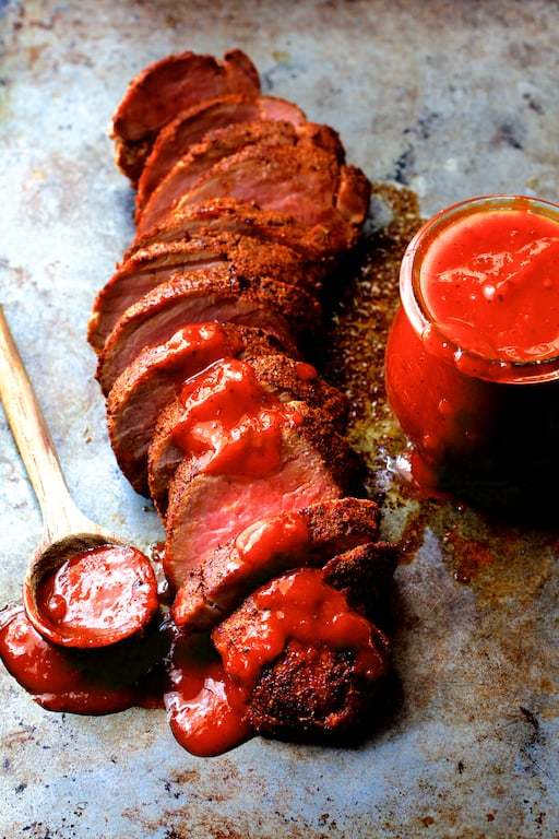 Spice Rubbed Pork Tenderloin with Peach Chipotle Barbecue Sauce Recipe | HeyFood — heyfoodapp.com