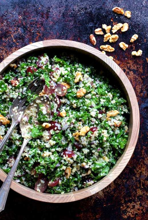 Quinoa and Kale Salad with Red Grapes, Walnuts and Honey – Lemon Dressing Recipe | HeyFood — heyfoodapp.com