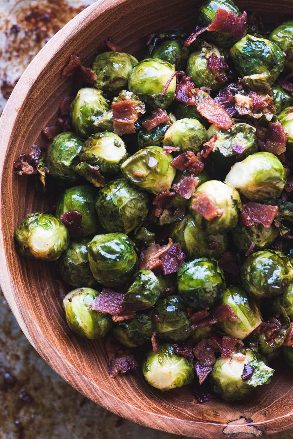 Maple Candied Brussels Sprouts with Bacon Recipe | HeyFood — heyfoodapp.com