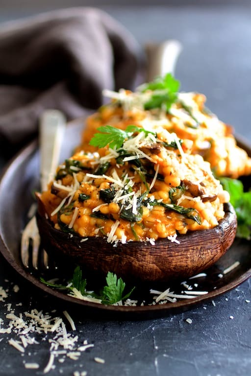 Barley Risotto Stuffed Portobello Mushrooms Recipe | HeyFood — heyfoodapp.com