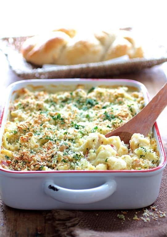 Baked Orecchiette with Cauliflower Bacon and Taleggio Recipe | HeyFood — heyfoodapp.com